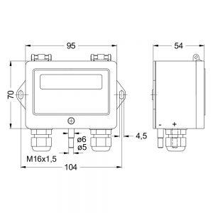 Zeichnung: Abmessungen Differenzdruckregler DPC200