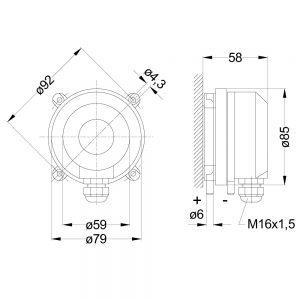 Zeichnung: Abmessungen Differenzdruckschalter DS