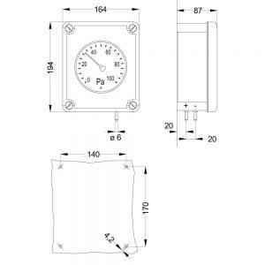 Zeichnung: Abmessungen Differenzdruckanzeiger DA2000S