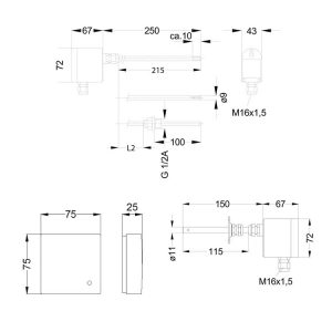 Product picture: Multirange transmitter PFT22 (dimensions)