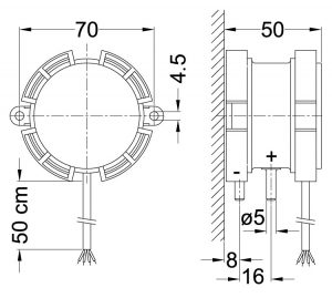 Product picture: Differential pressure sensor DS85 (dimensions)