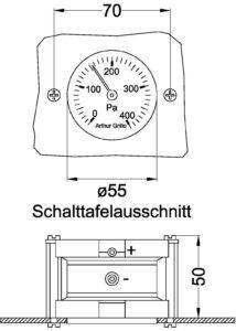 DA85 Baumaße 214x300 - Simpler differential pressure manometer DA85